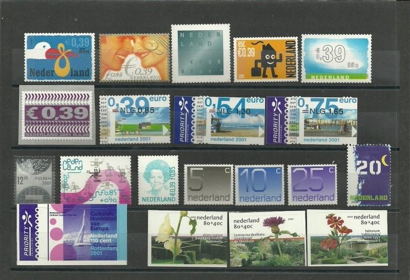 Complete Jaargang 2001 Postfris Gestanst (alleen losse zegels)