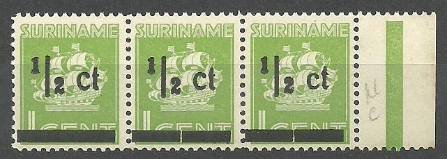 Suriname 210a+b+c  ½ ct op 1 ct in strip Hulpuitgifte Postfris