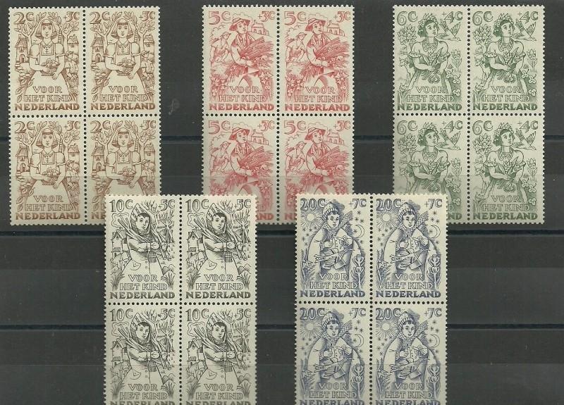 Nvph 544/548 Kinderzegels 1949 in Blokken Postfris