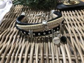 Handgemaakt armbandje Zwart/nude S