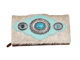 Ganesha - London Lichte Koeienhuid portemonnee met turquoise stenen