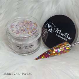 WowBao Nails acryl poeder Premium Glitter nr PG520 Carnival 28g