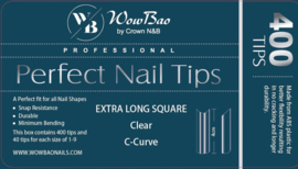 WowBao Nails EXTRA LONG Square C Curve Professional Perfect Nail Tips 400st.