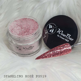 WowBao Nails acryl poeder Premium Glitter nr PG519 Sparkling Rosė 28g