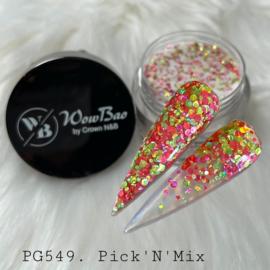 WowBao Nails acryl poeder Glitter nr 549 Pick 'N' mix 28g