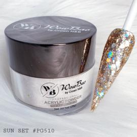 WowBao Nails acryl poeder Premium Glitter nr PG510 Sun Set 28g