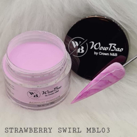 WowBao Nails acryl poeder color marble MBL03 Strawberry Swirl  28g