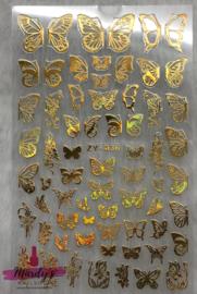 Nagelsticker Butterfly vlinder goud ZY-036
