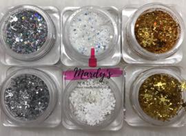 Glitter en sneeuwvlokjes set wit/zilver/goud