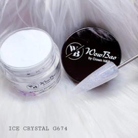 WowBao Nails acryl poeder Glitter nr G674 Ice Crystal 28g