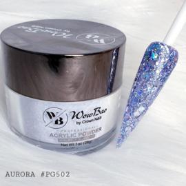 WowBao Nails acryl poeder Premium Glitter nr PG502 Aurora 28g