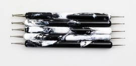 Dotting tool/Dottingtool set wit/zwart marmer