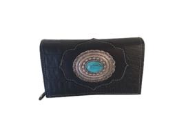 Ganesha - Miami zwart croco portemonnee met turquoise stenen