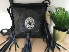 Ganesha - Dewi zwart croco tas met een zwarte stenen