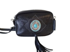 Ganesha - Karma Zwart croco tas met turquoise stenen