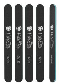 Halo Elite zwarte rechte nagelvijlen 100/180 grit 5 st.