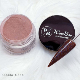 WowBao Nails acryl poeder Glitter nr G634 Cocoa 28g