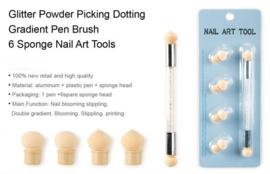 Nailart glitter chrome spons ombre tool