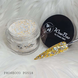 WowBao Nails acryl poeder Premium Glitter nr PG518 Prosecco 28g