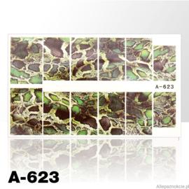 Waterdecal slangen print groen A-623