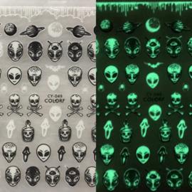 Nagelsticker Halloween Glow In the Dark CY-049