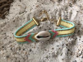 Handgemaakt Ibiza armbandje Pastel Shell