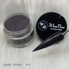 WowBao Nails acryl poeder Glitter nr 807 Dark Stars 28g