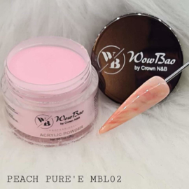 WowBao Nails acryl poeder color marble MBL02 Peach Pure'e  28g