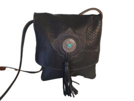 Ganesha - Pooja Zwart croco tas met een turquoise steen