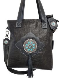 Ganesha - Elisa Zwart Croco Shopper met Turquoise stenen