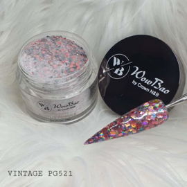 WowBao Nails acryl poeder Premium Glitter nr PG521 Vintage 28g