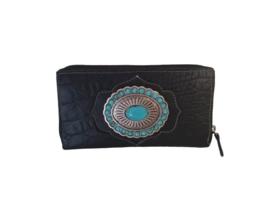 Ganesha - Paris Zwart croco portemonnee met turquoise stenen