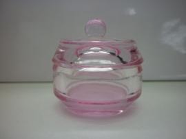Glazen Roze dappendish met deksel