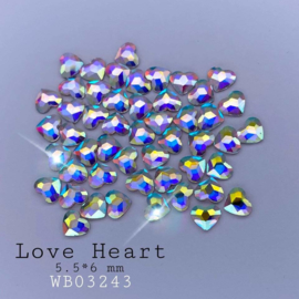WowBao Nails Wow Crystals HEARTS AB 5,5x6mm 50st.
