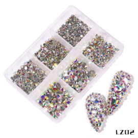 Crystal steentjes zilver AB in box