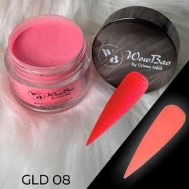 WowBao Nails acryl poeder color glow in the dark GLD08 28g