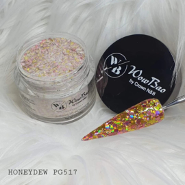 WowBao Nails acryl poeder Premium Glitter nr PG517 Honeydew 28g