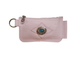 Ganesha - Rio Sweet Pink Croco portemonneetje met turquoise steen