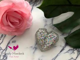 Handgemaakte foto diamant hart holografisch zilver