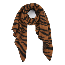 Sjaal zebra print - camel