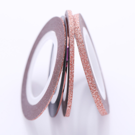 Striping Glitter Tape rose setje van 4