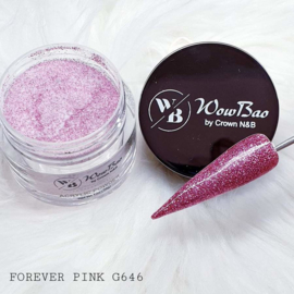 WowBao Nails acryl poeder Glitter nr G646 Forever Pink 28g