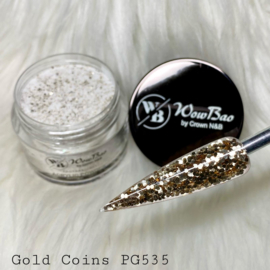 WowBao Nails glitter acryl poeder nr 535 Gold Coins 28g
