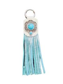Ganesha - Sleutelhanger Franje SnowWhite/Blue met turquoise steen