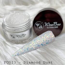 WowBao Nails acryl poeder Glitter nr 523 Diamond Dust 28g