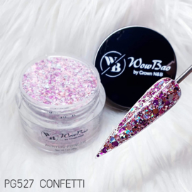 WowBao Nails glitter acryl poeder nr 527 Confetti 28g
