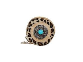Ganesha - Bindi Leopard portemonneetje met turquoise steen