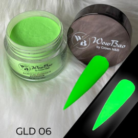WowBao Nails acryl poeder color glow in the dark GLD06 28g
