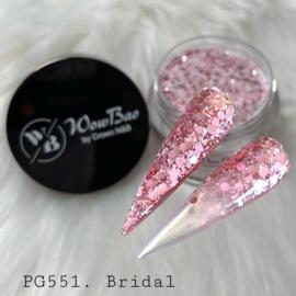 WowBao Nails acryl poeder Glitter nr 551 Bridal 28g