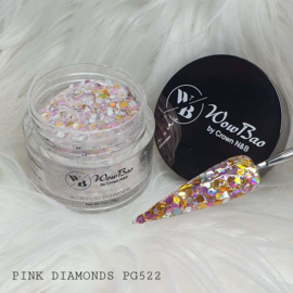 WowBao Nails acryl poeder Premium Glitter nr PG522 Pink Diamonds 28g